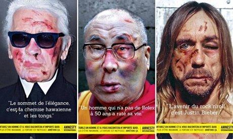 Portretten Dalai Lama, Karl Lagerfeld en Iggy Pop in campagne Amnesty tegen marteling