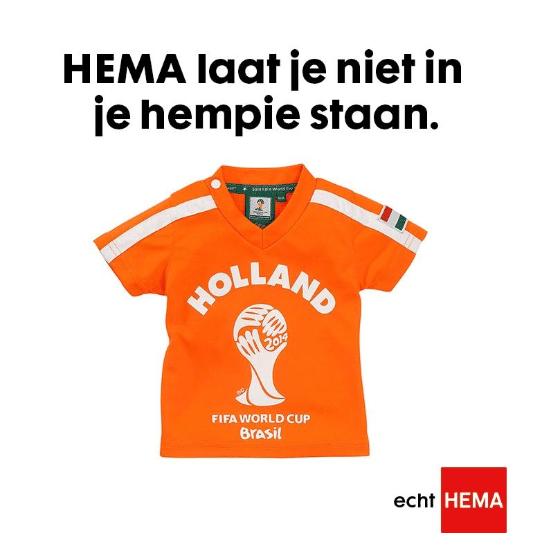 Hema WK Oranje voetbalshirt met WK Merken