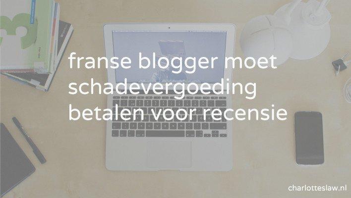 blogger moet schadevergoeding betalen voor recensie