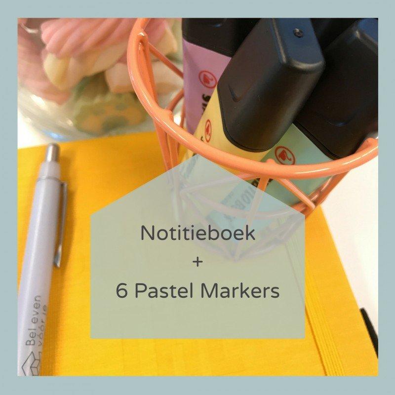 Notitieboek en Markeerstiften Pastel